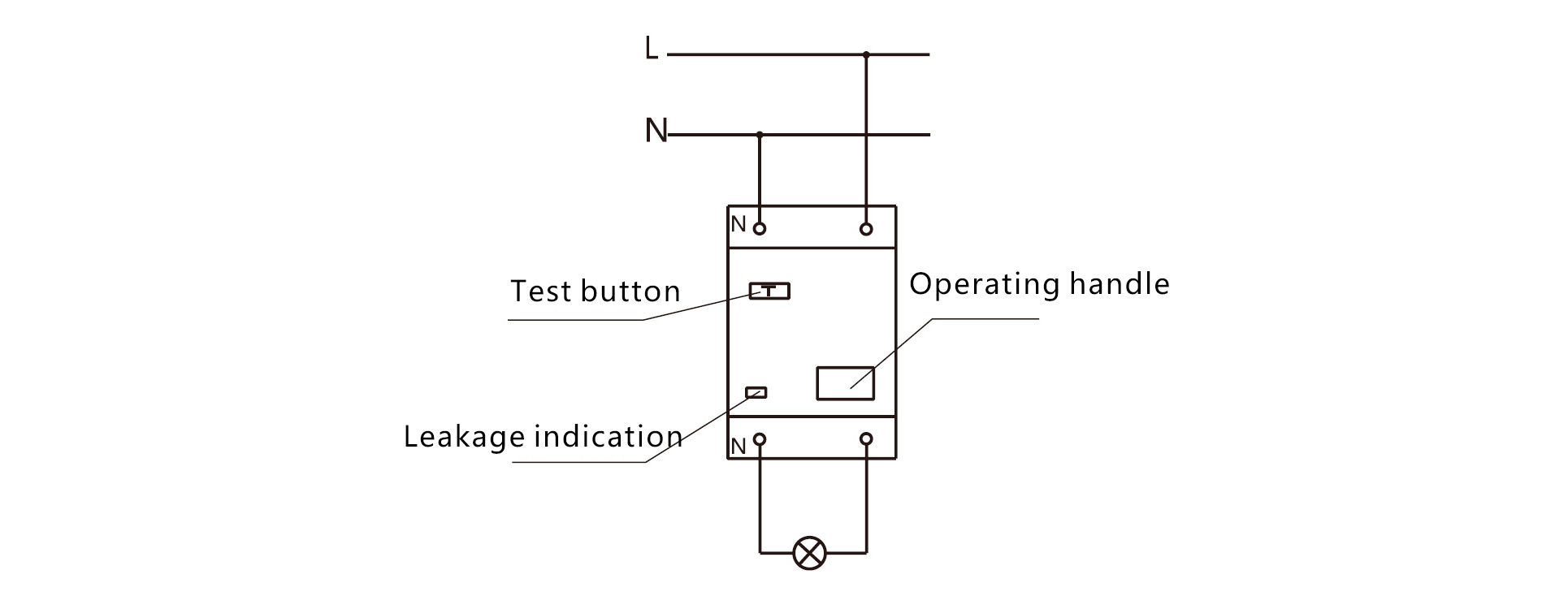 Wiring diagram. Keywords: earth leakage switch , electric leakage Circuit  Breaker